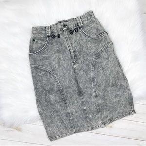 [Vintage] Gray Acid Wash Grunge Jean Pencil Skirt
